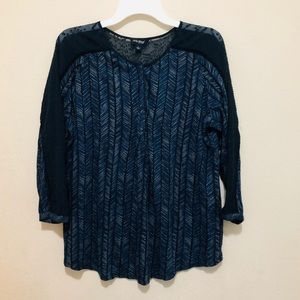 Lucky brand Peasant top long sleeves Large Blue